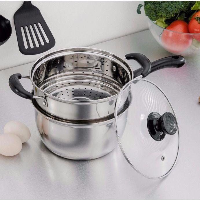 不銹鋼湯鍋-❦加厚不銹鋼鍋奶鍋復底湯鍋輔食小鍋煮面鍋雙層蒸鍋家用電磁爐鍋具