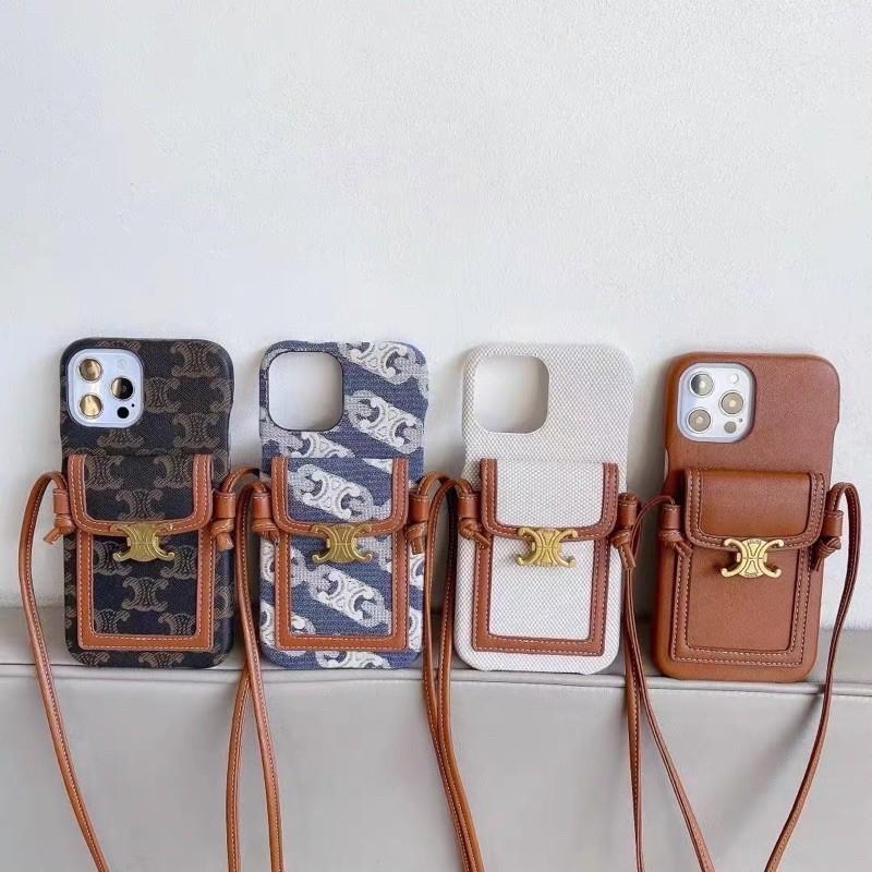 4色 凱旋門卡包手機殼 斜背 手機殼 帆布 背帶 IPhone 保護殼 Celine 皮革 老花 硬殼