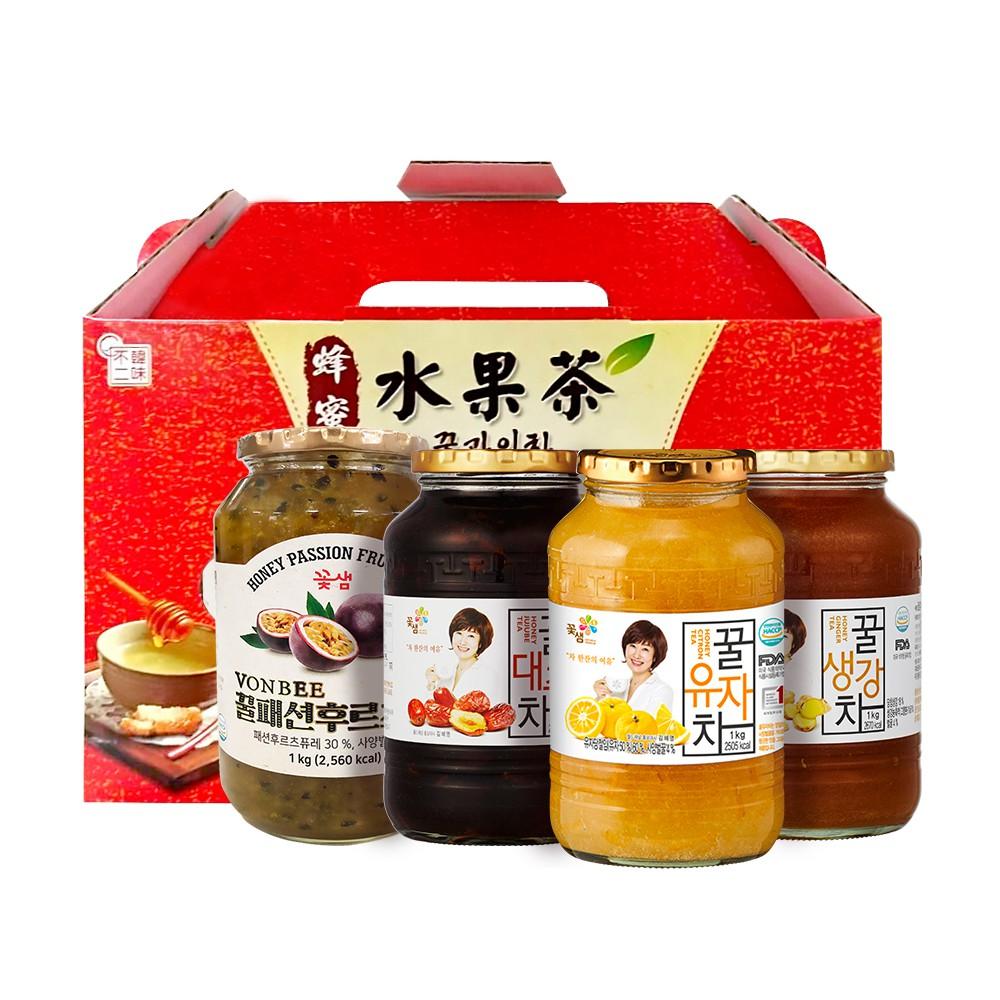【韓味不二】花泉 傳統茶 禮盒1kg x 2入 口味任選 (柚子茶/紅棗茶/薑母茶/百香果/檸檬)