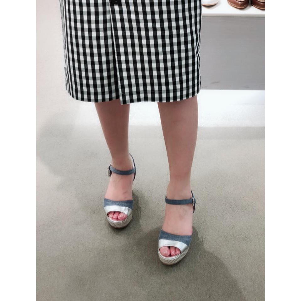 日本DIANA牛仔顯白膚色涼鞋/楔型鞋