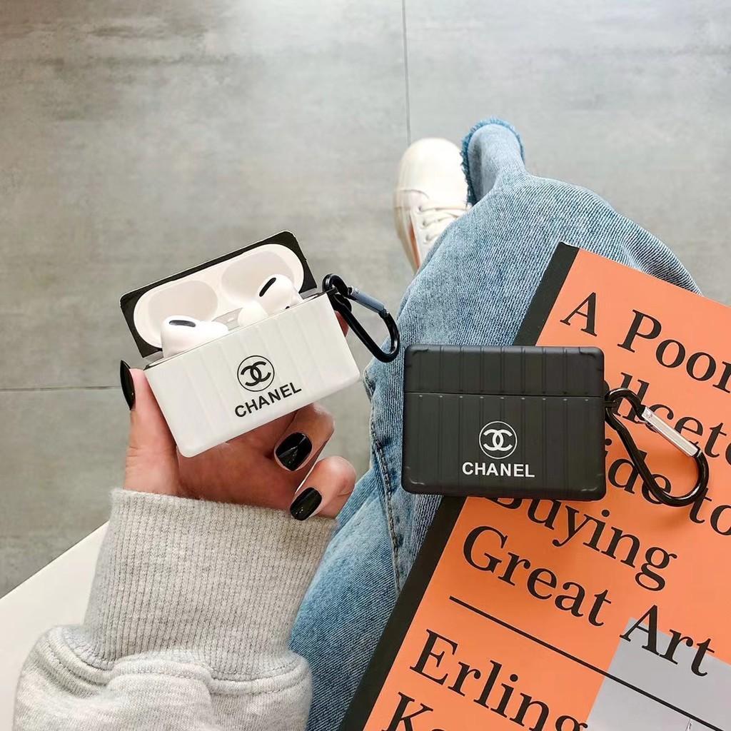 【小涵】香奈兒chanel品牌行李箱款簡約IMD防摔抗壓藍牙耳機AirPods耳機套適用於AirPods 1/2 pro