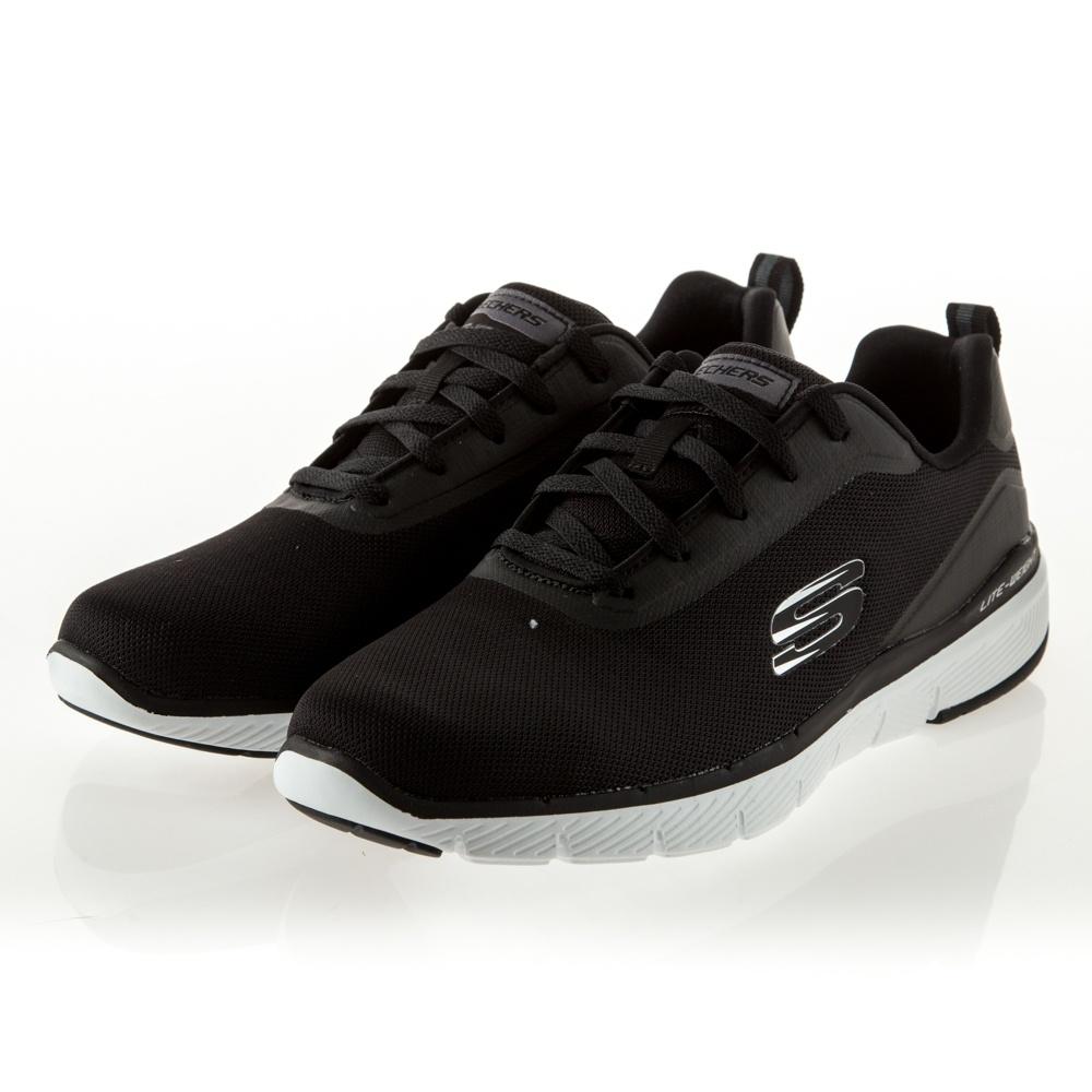 SKECHERS FLEX ADVANTAGE 3.0 男鞋 休閒 運動 輕量 基本款 黑白-52751BLK
