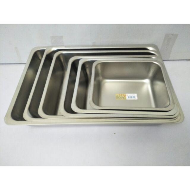 不鏽鋼方盤 長方型盤 方盤 長方型方盤 304不鏽鋼餐盤 烤盤 加深盤高8cm 露營盤 蝴蝶牌 台灣製  一入