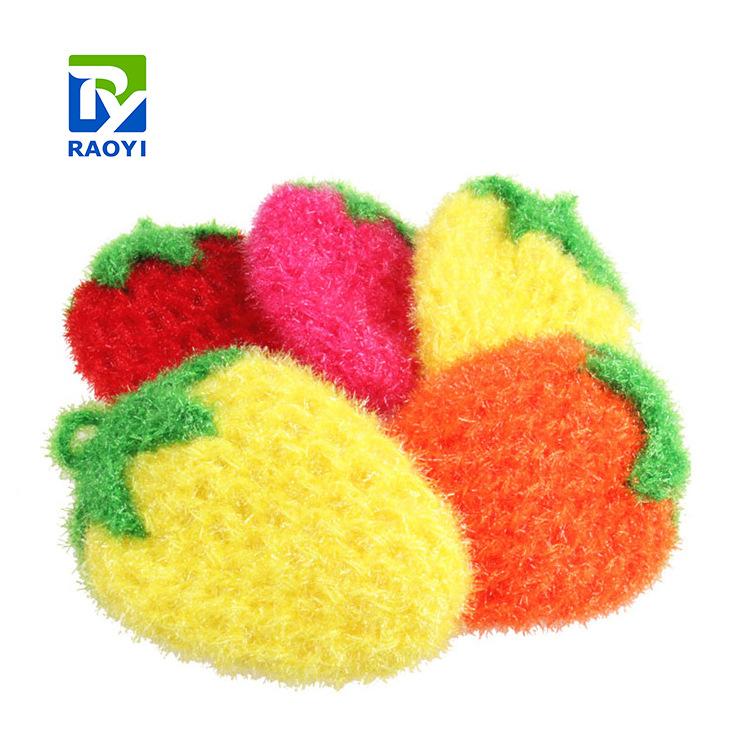 韓國三片葉加厚亞克力草莓洗碗巾 手工勾織滌綸絲不沾油清潔布