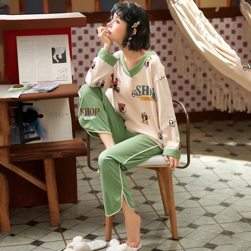 促銷價睡衣女春秋季純棉長袖兩件套裝韓版清新學生全棉女士家居服可外穿