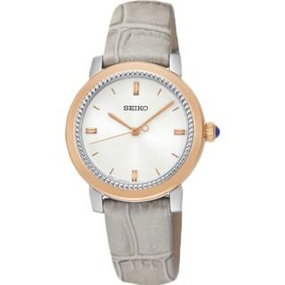 SEIKO 氣質石英女錶 SRZ452P1 皮革錶帶 銀色x玫瑰金  全新 保固一年 含稅發票 國隆手錶專賣店 臺中市