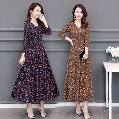 韓版印花洋裝女版洋裝優雅V領合身腰長袖中長洋裝M-4XL裙子寬鬆新款