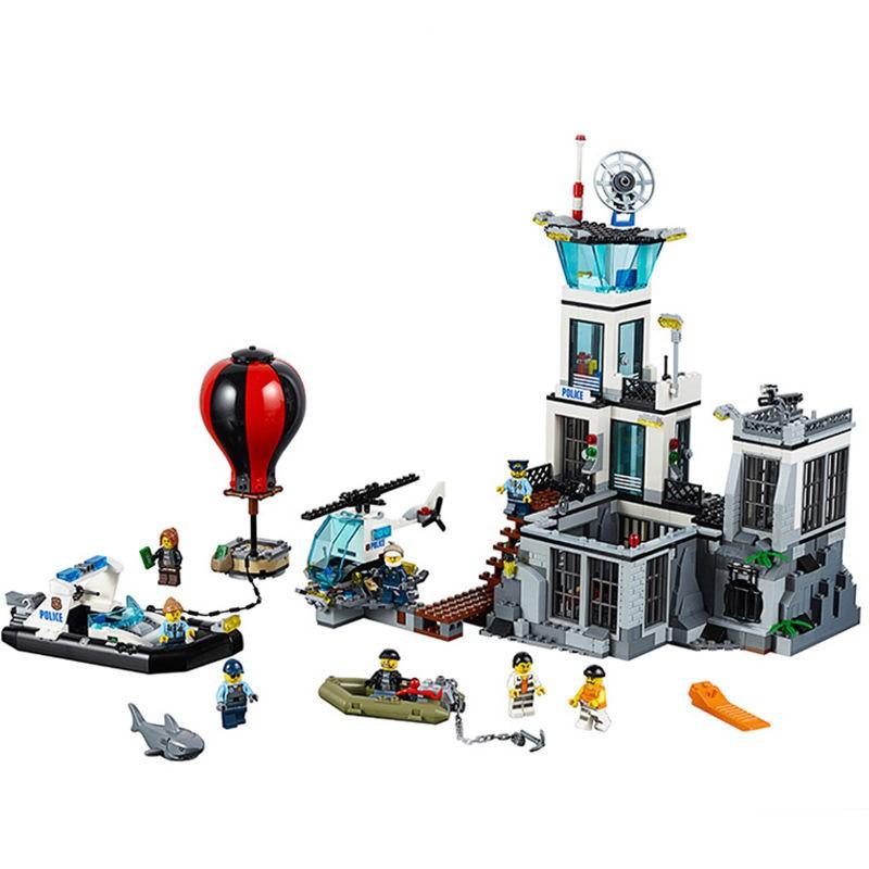 [乖乖專賣]兼容樂高積木軍事城市系列海上監獄島警察局9-12歲男玩具拼裝