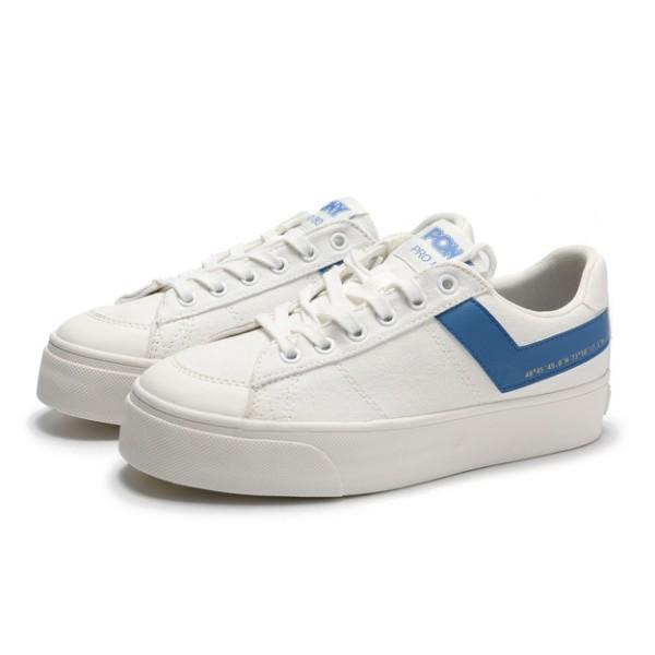 PONY Pro80 休閒鞋 帆布鞋 低筒 厚底 白藍色 女生【83W1PR01RB】