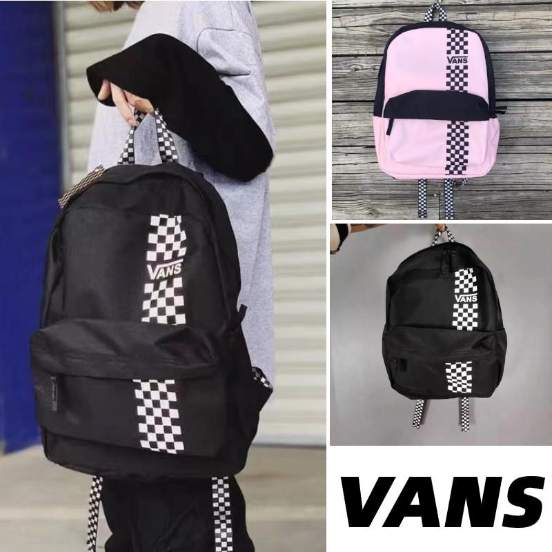 VANS范斯正品新款全新 海外版格子經典棋盤印花logo 情侶款 雙肩包 後背包 肩背包 書包 帆布包 拉鍊包 健身包