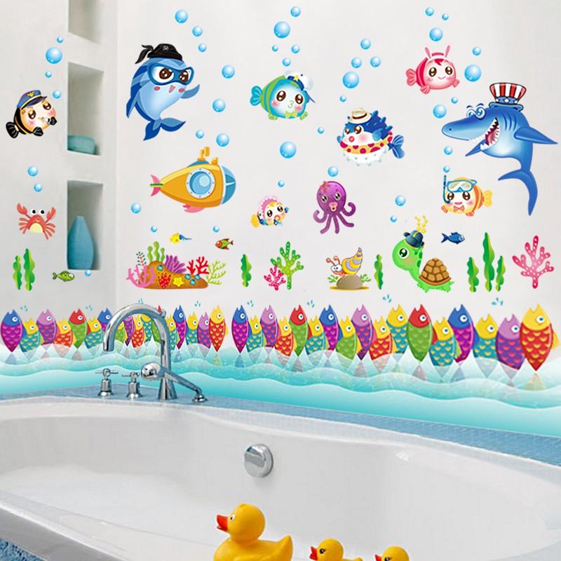 【五象設計】卡通海洋動物 兒童房裝飾 壁貼 牆貼畫 寶寶臥室 兒童教室 背景牆貼畫 自粘 浴室 玻璃裝飾貼紙