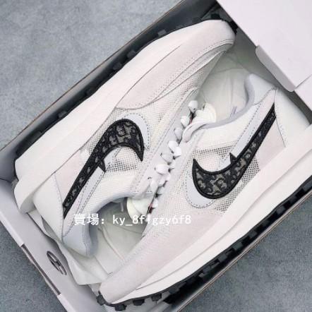 韓國代購高品質NIke x Sacai x 聯名男女華夫迪奧雙勾休閒慢跑鞋透明呼吸網紗休閒鞋