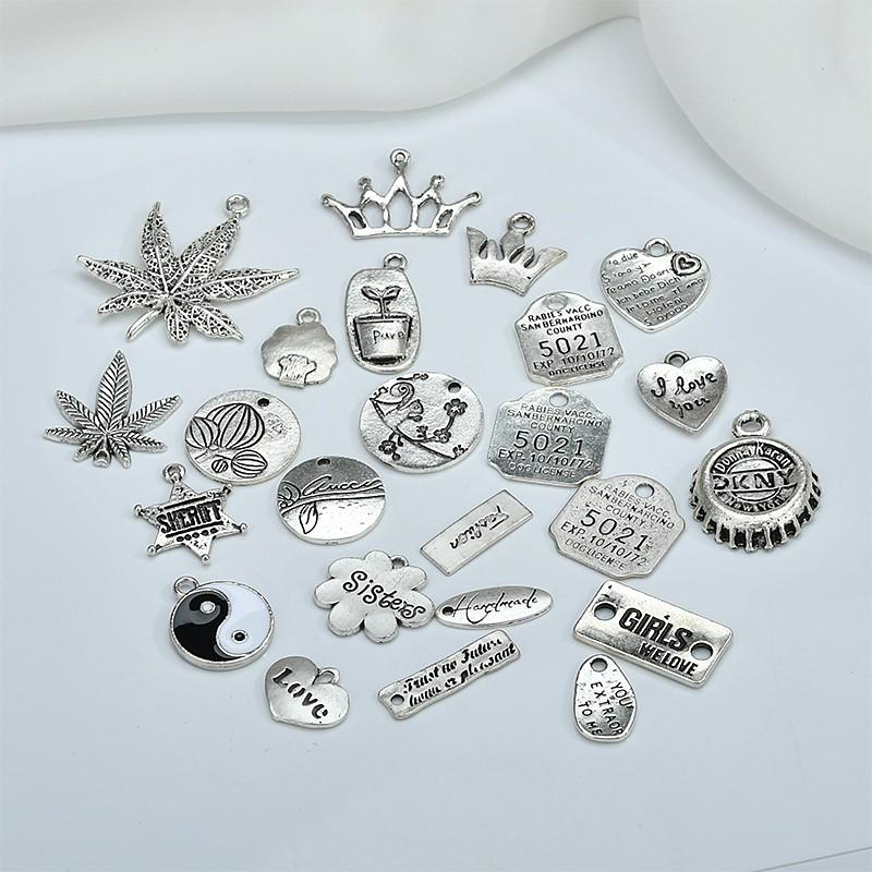 DIY飾品配件-復古英文字母吊牌耳環發飾材料 簡約古銀楓葉子桃心飾品配掛件