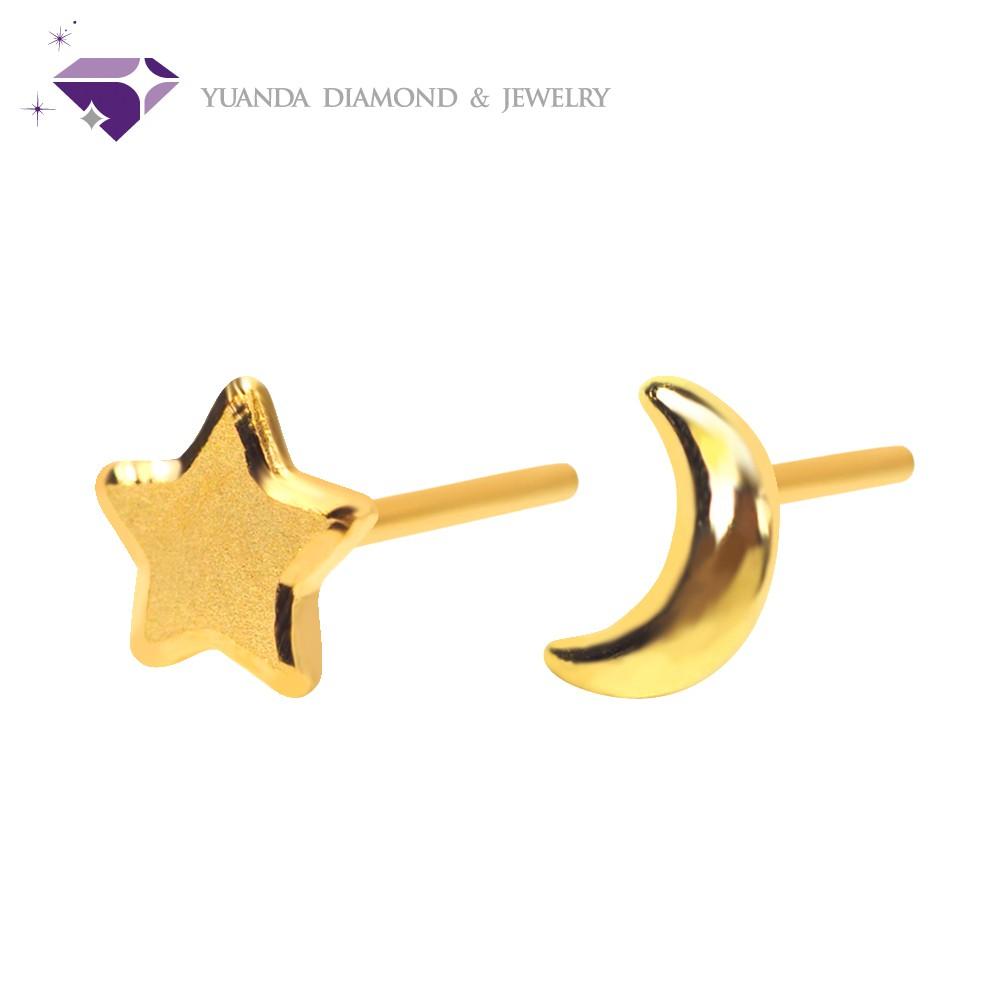 【元大珠寶】黃金9999星與月純金耳環-純金9999國家標準5-018