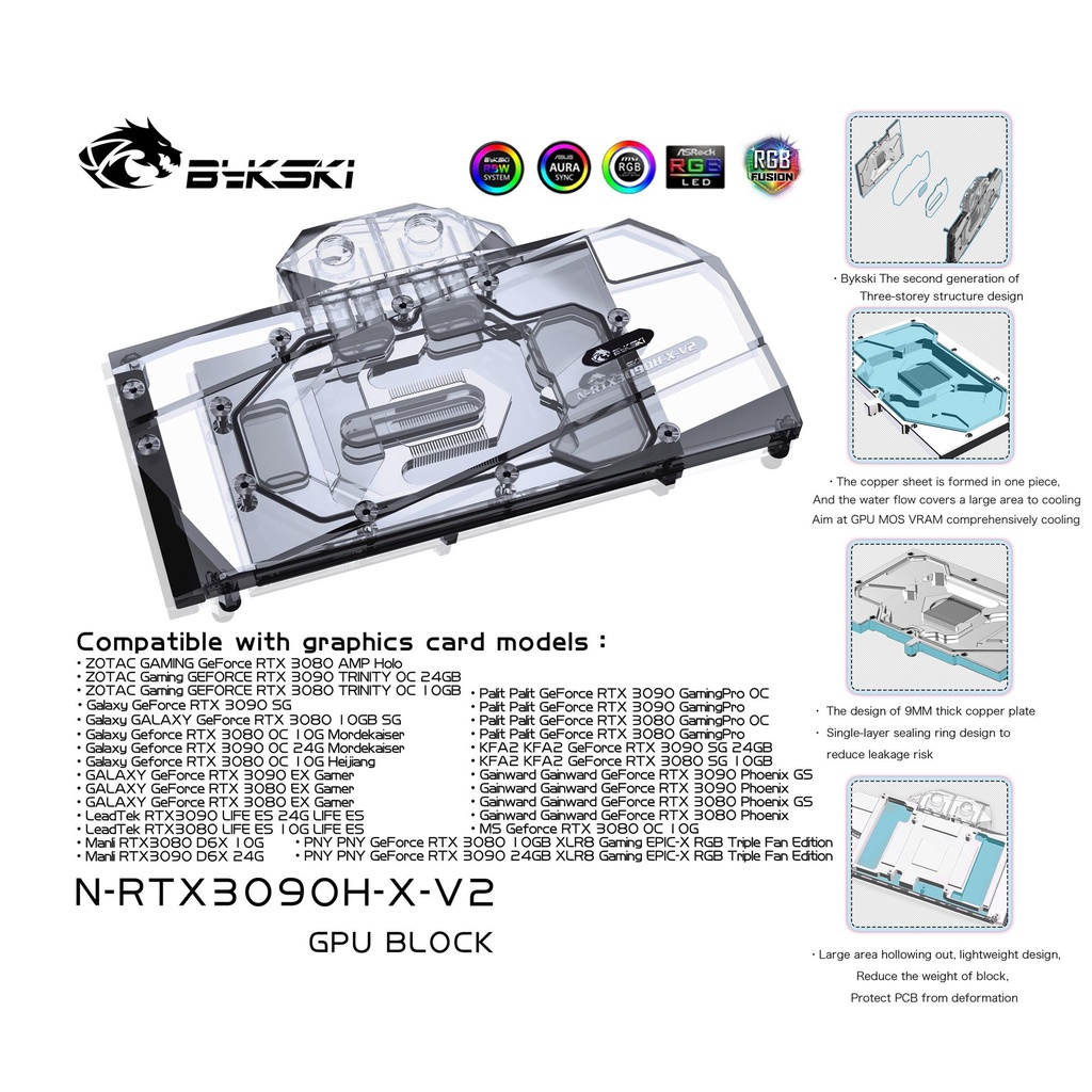 Bykski 水塊用於 Nvidia Rtx 3080 3090 參考版 Gpu 卡 / 銅塊 / 背板 Rgb A-R