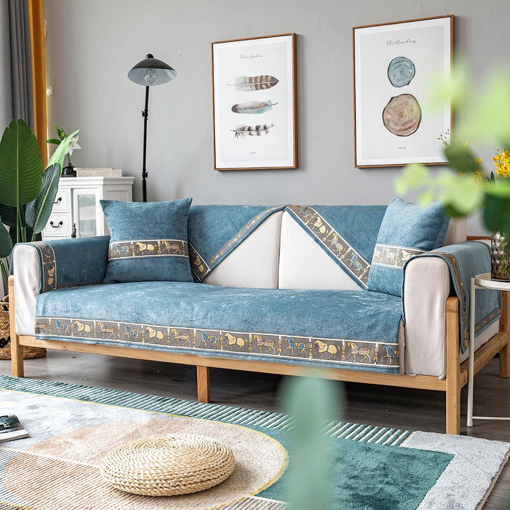 客制化# 沙發套訂製 雪尼爾沙發套 防水沙發墊  歐洲古典沙發套 布藝四季通用 防滑 坐墊 簡約現代 抱枕套 沙發椅套