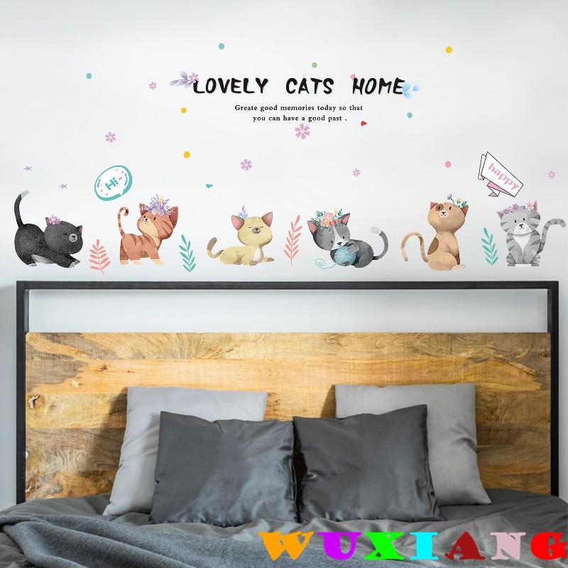 【五象設計】壁貼 貼紙 房間裝飾 居家裝飾 卡通手繪貓咪 自粘牆貼畫 兒童房裝飾貼紙