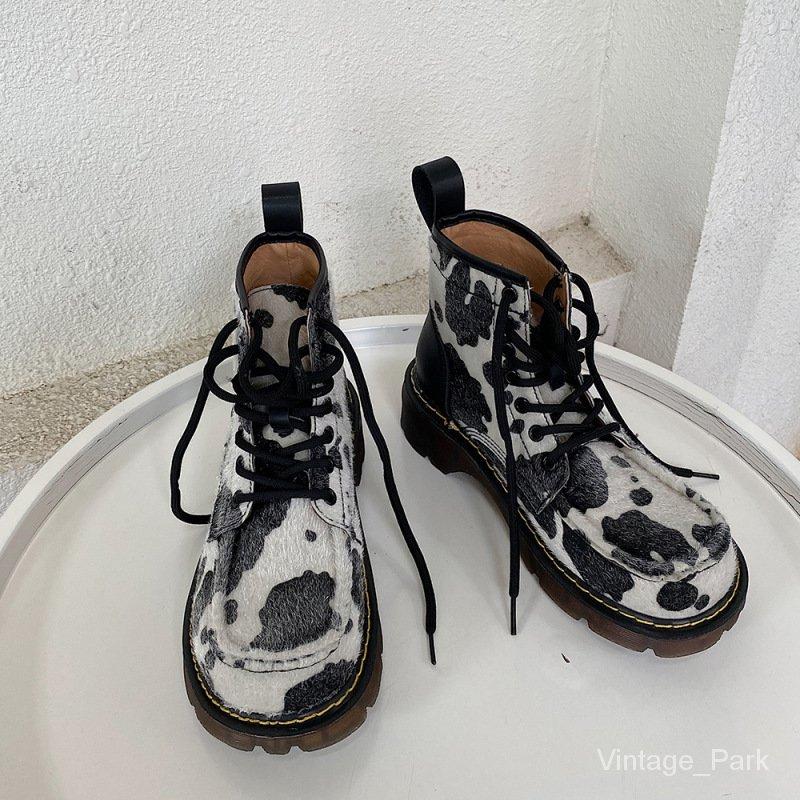 【VIN】韓國2020秋冬新款英倫風奶牛加絨馬丁靴復古騎士靴網紅厚底中筒靴