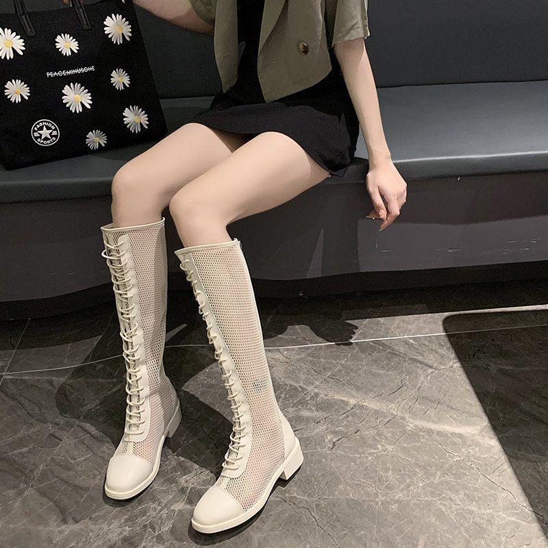 ❈❆長靴女過膝顯瘦長筒靴子粗腿2021夏季新款百搭粗跟高筒靴馬丁靴潮