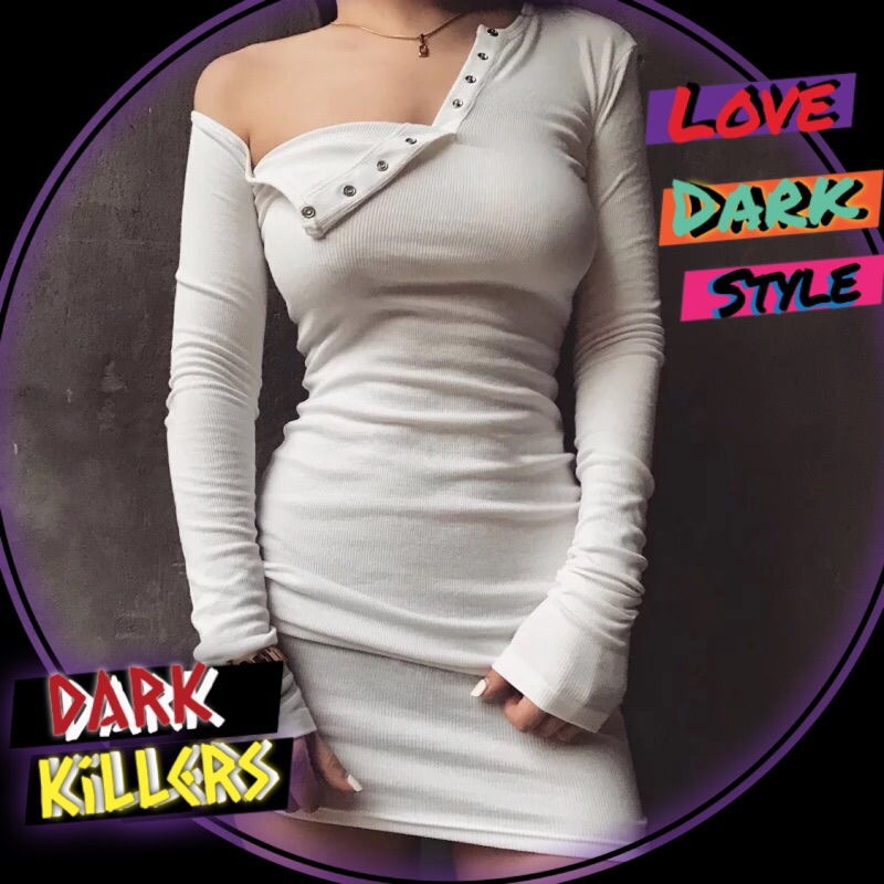 Dark Killers 必買 歐美 超火性感 斜肩 露肩 長袖 螺紋 彈力 顯瘦 中長版 合身包臀洋裝