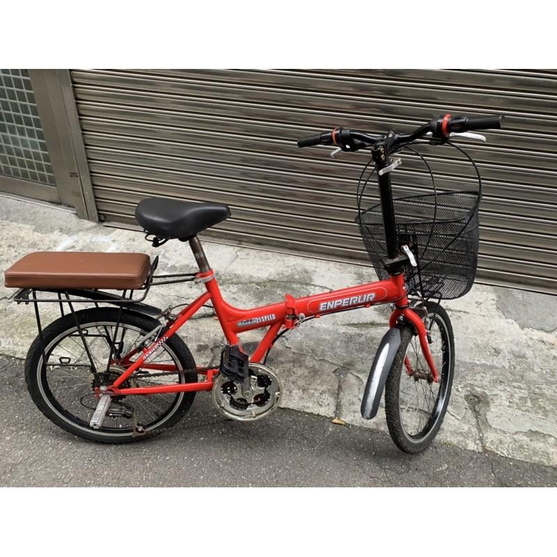 Englis紅色Enperur小折/中壢平鎮/20吋21段變速折疊腳踏車/附籃子和後座椅墊子/功能正常