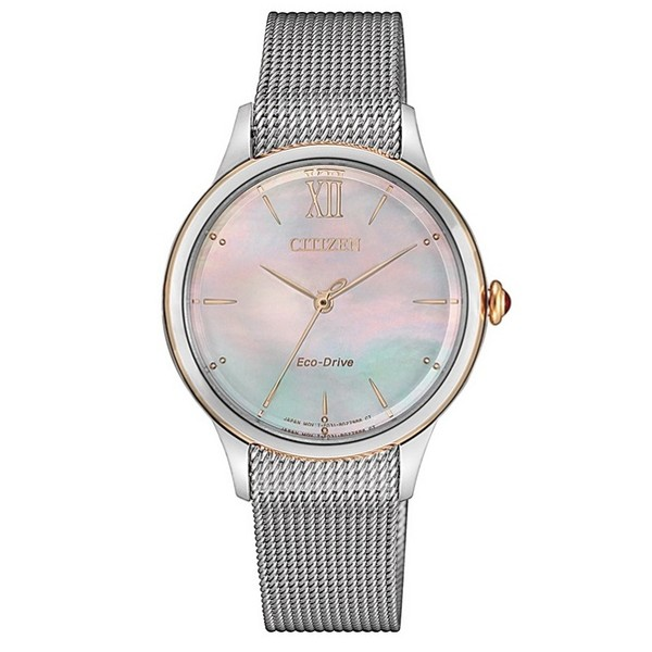 CITIZEN 星辰 光動能時尚米蘭帶 女錶 EM0816-88Y
