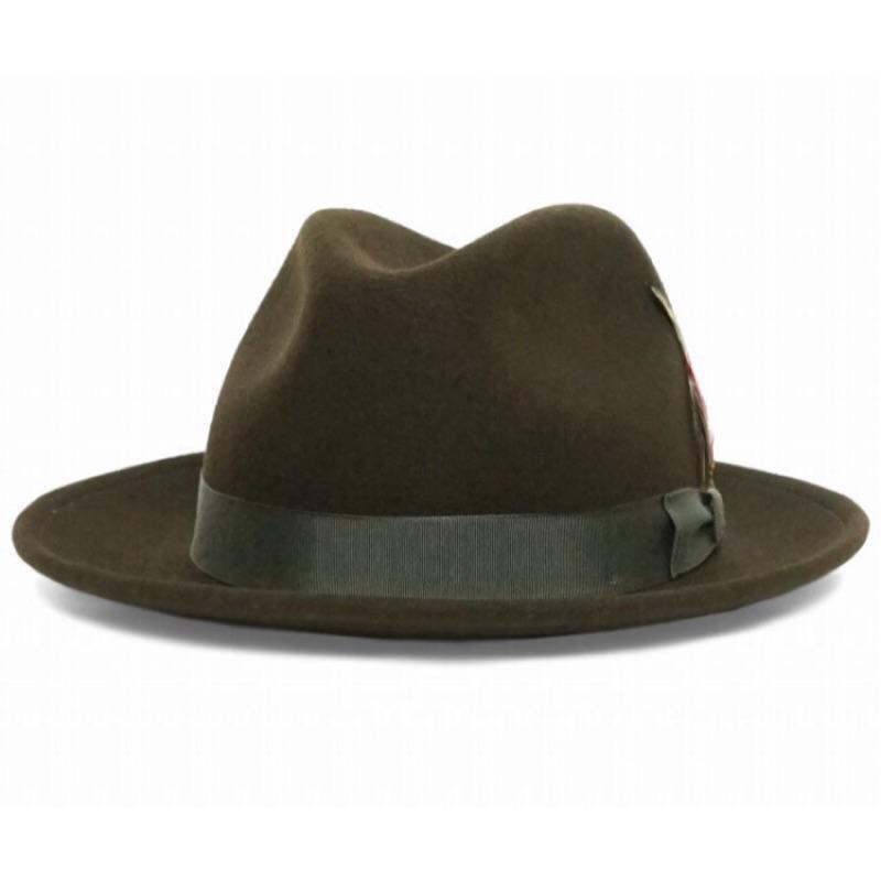美國 NEW YORK HAT 手工紳士帽 - THE FEDORA 三凹長簷紳士帽 - 橄欖綠