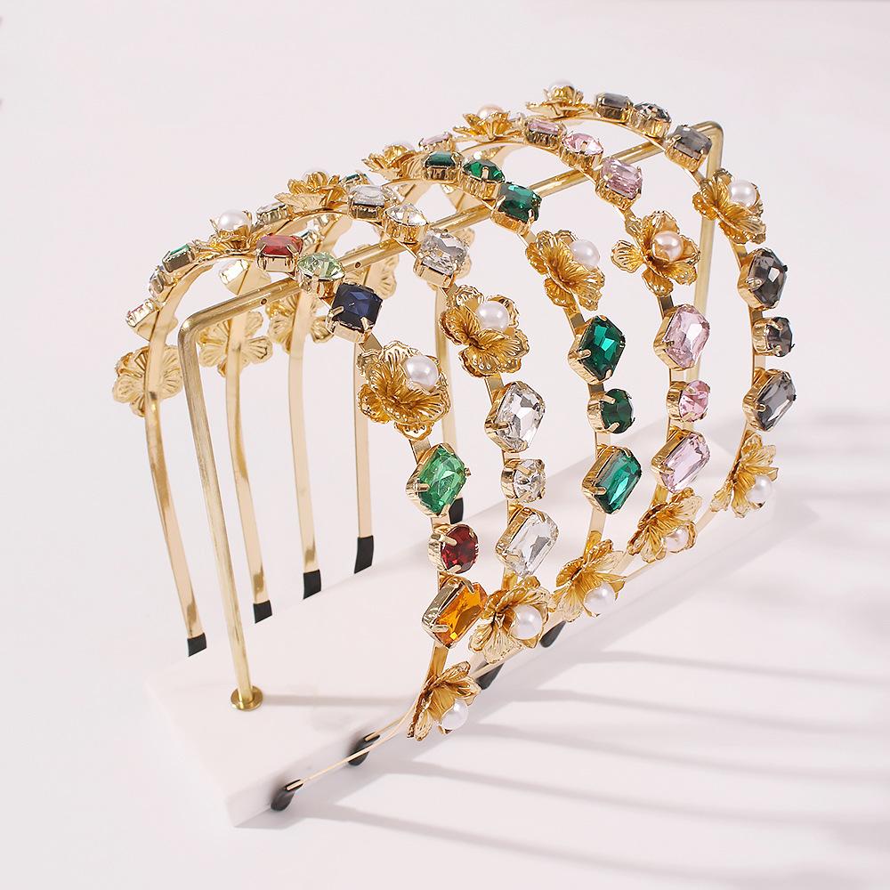 F2338歐美大牌高端髮飾 巴洛克彩色玻璃鑽合金髮箍女珍珠奢華頭箍