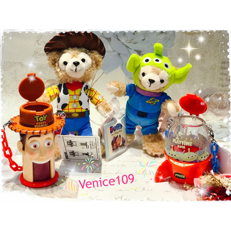 日本連線代購東京迪士尼樂園限定~玩具總動員 胡迪/三眼怪火箭造型糖果罐吊飾