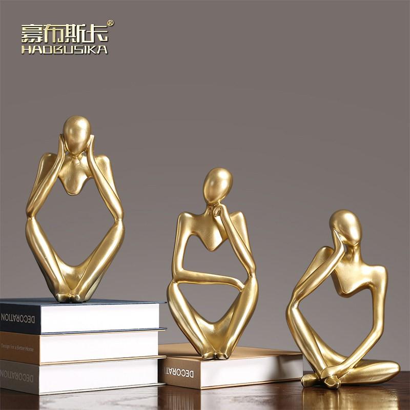 (cpc)現代簡約客廳樣板間軟裝輕奢擺件家居飾品金色抽象創意個性裝飾品