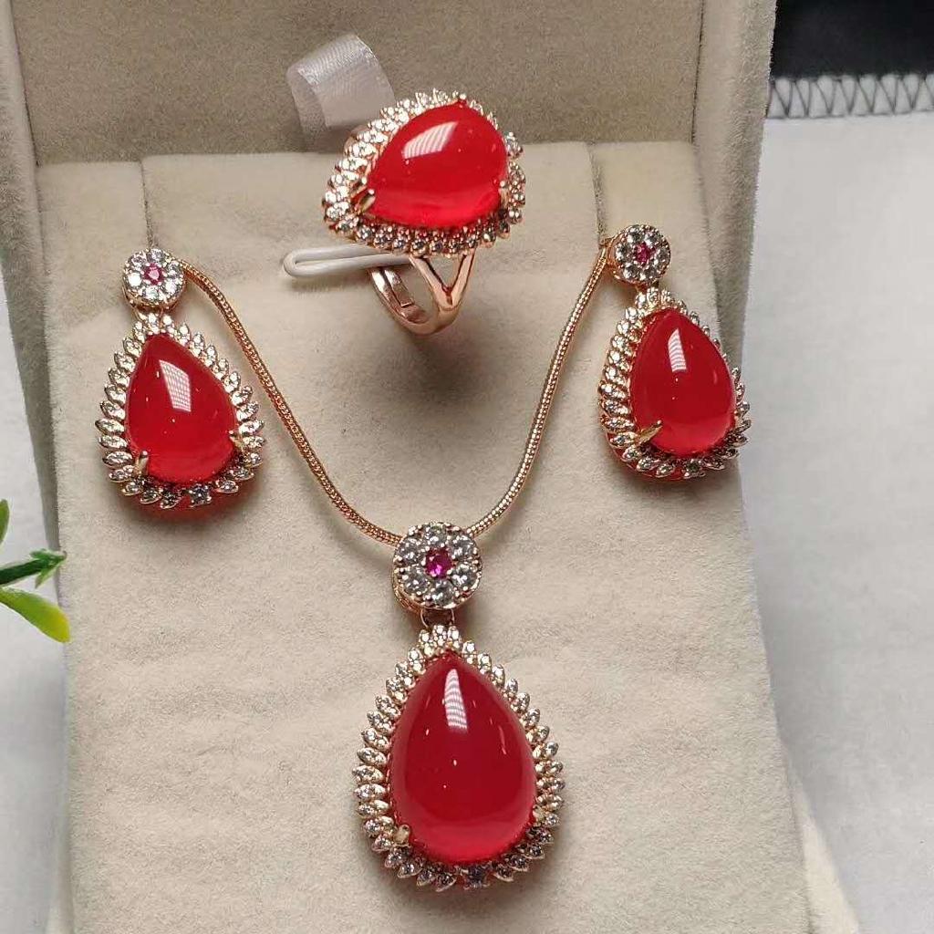 时尚 新款天然原礦冰種紅玉髓四件套戒指項鏈耳環送證書