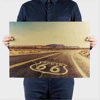 復古風~66號公路復古懷舊風景牛皮紙海報宿舍酒吧咖啡館裝飾畫芯貼畫