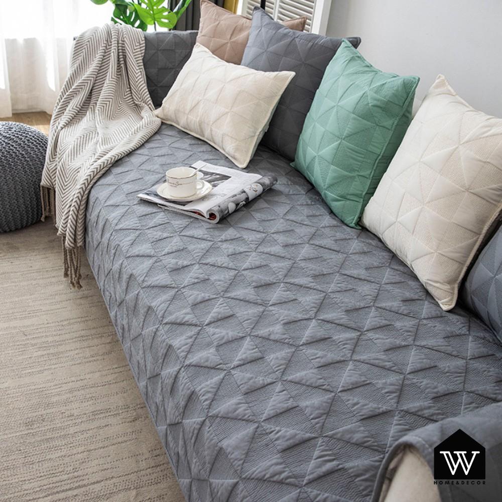 【好物良品】全棉刺繡沙發墊組合北歐輕奢四季通用防滑防髒沙發罩蓋巾 - 灰色幾何款|輕奢系列