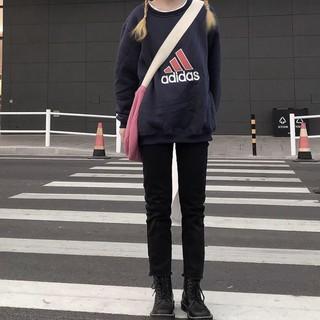 特價寶藍2XL   ADIDAS 純棉古著  大刺繡 圓領 衛衣 寬鬆情侶加絨大學T overseize版型 基隆市