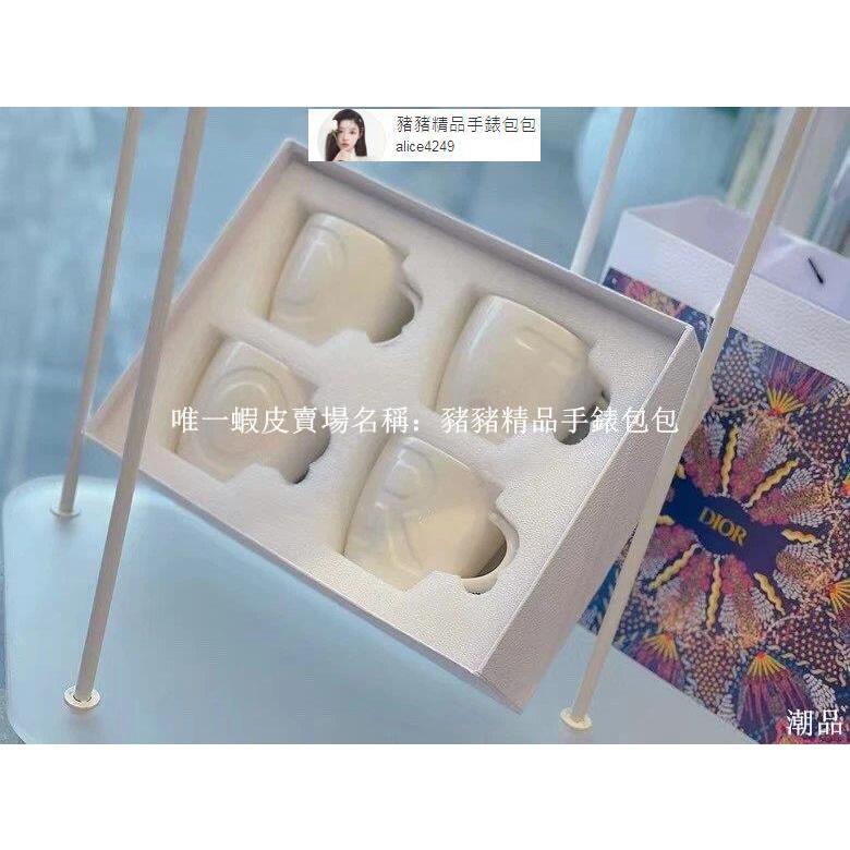 二手正品 Dior 迪奧 字母杯4件套 由品牌名稱的4個字母組成4個杯子 骨瓷馬克杯