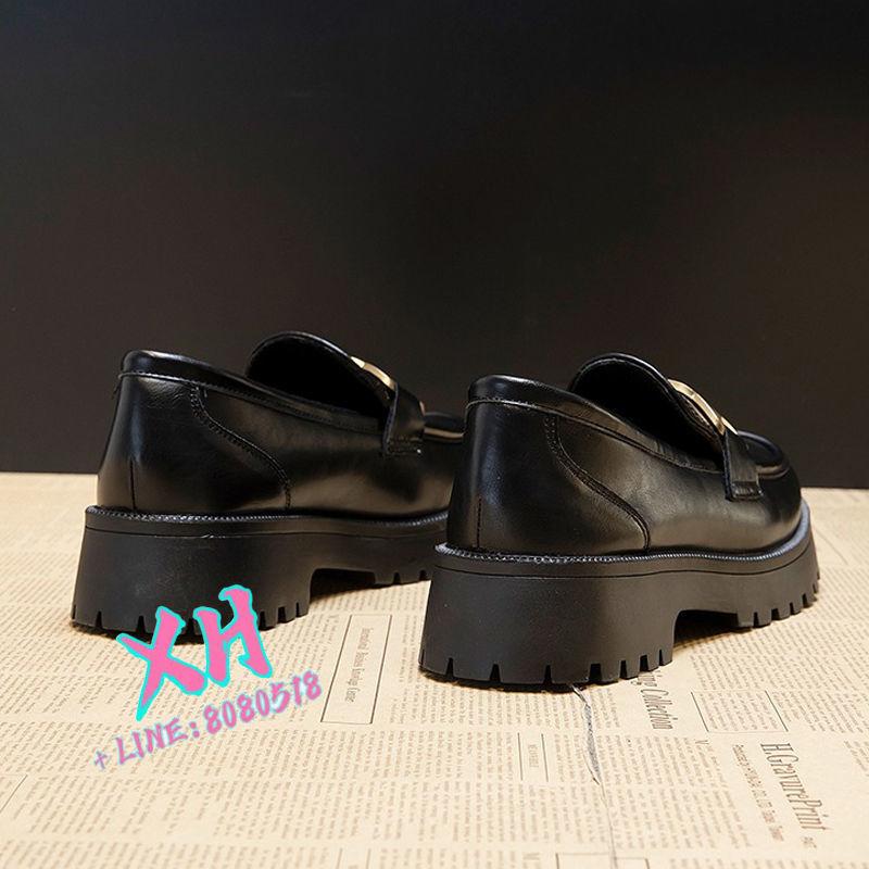 新款 英倫風 小皮鞋 樂福鞋 單鞋英倫風百搭厚底單鞋小皮鞋女2021春季新款樂福鞋全皮一腳蹬女鞋