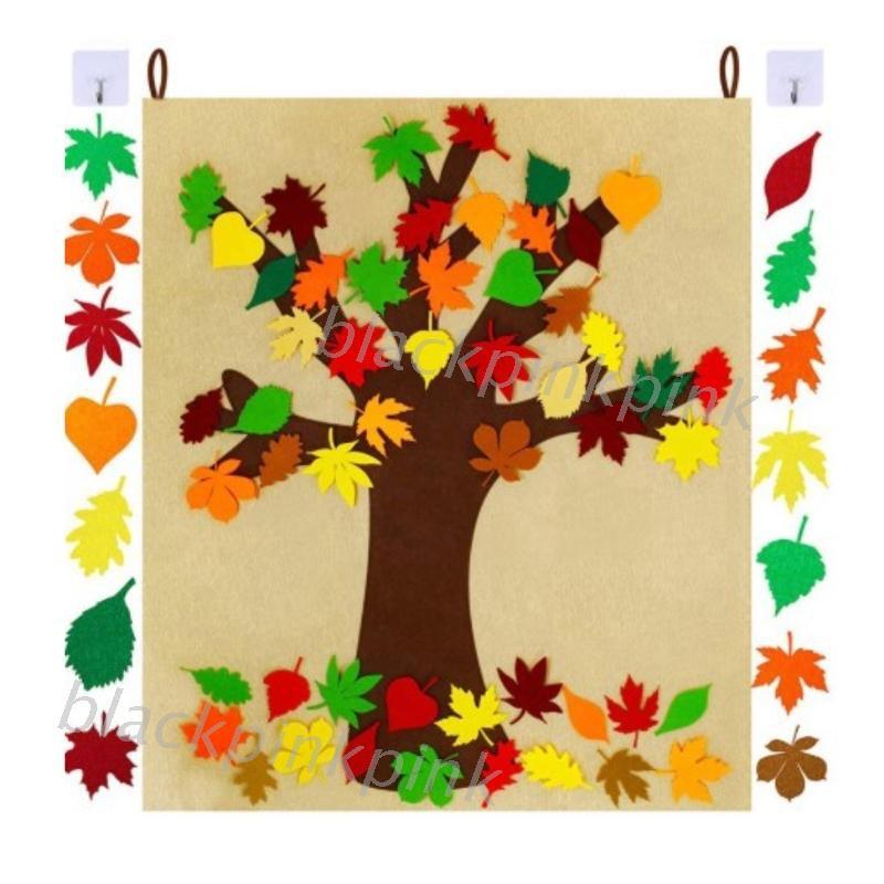 Diy 自粘毛氈秋季楓葉樹與 52pc 可拆卸秋葉飾品