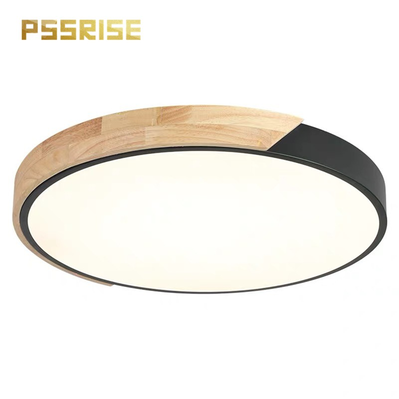 【PSSRISE 派瑟士】 LED圓形木邊吸頂燈 北歐超薄臥室客廳燈 三色變光 無極調節 110V 兩年保固