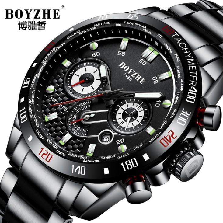 Boyzhe 男士 Machnical 手錶多功能運動夜光手錶
