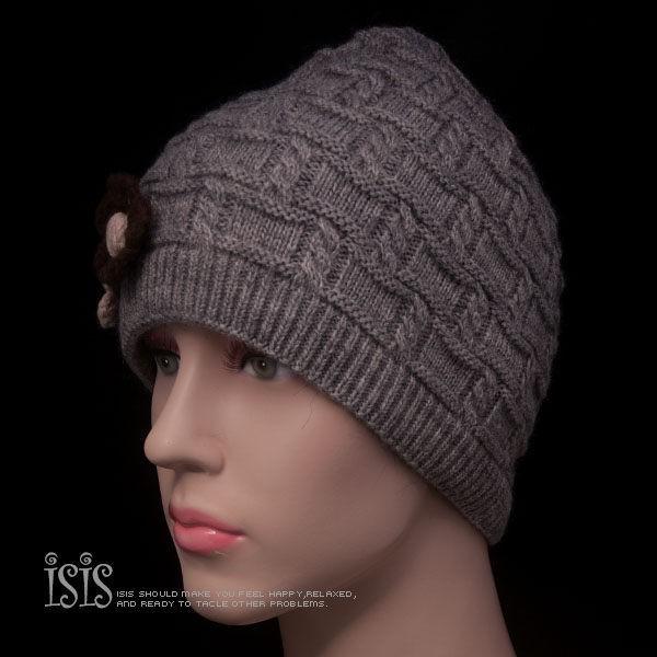 KURO-SHOP秋冬新品 灰色針織花朵 針織帽