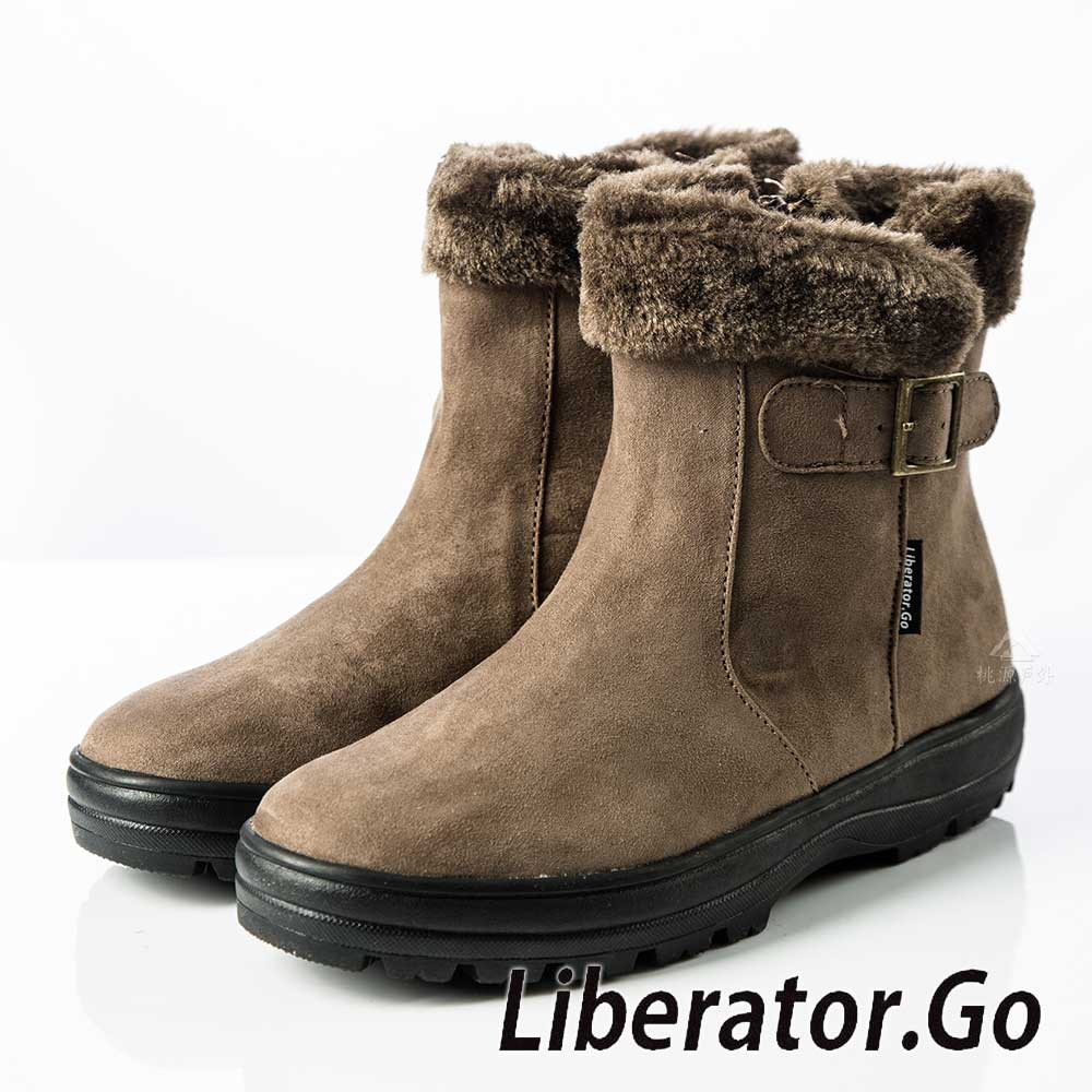 【Liberator】女中筒防水翻毛拉鍊雪鞋『灰』L5026 (冰爪 / 內厚鋪毛 /防滑鞋底)