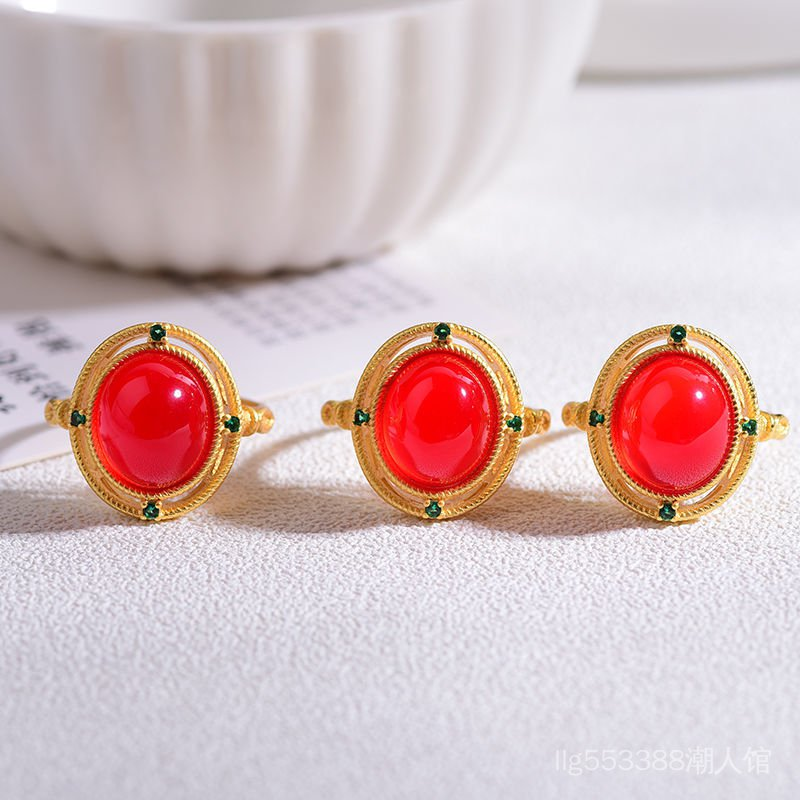 【戴代好】戒指活口女款紅瑪瑙冰紅玉髓甜美氣質閨蜜禮物