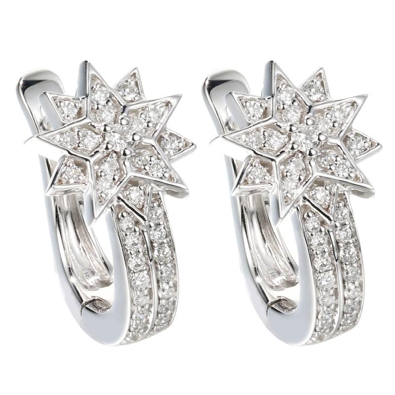 【巧品珠寶】18K 小巧精緻 星芒 鑽石耳環
