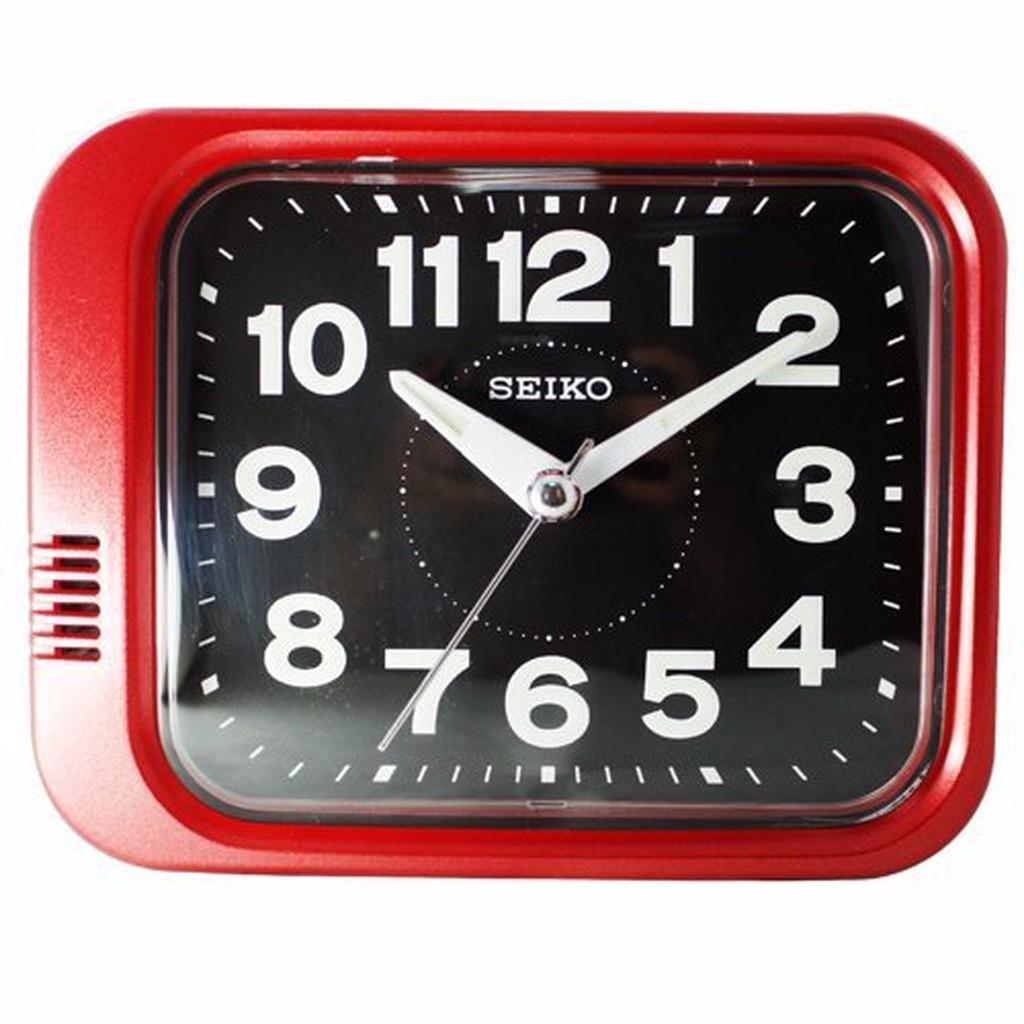 日本精工-SEIKO QHK028方型夜光響鈴鬧鐘 大聲公 靜音式秒針 鬧鐘--紅色