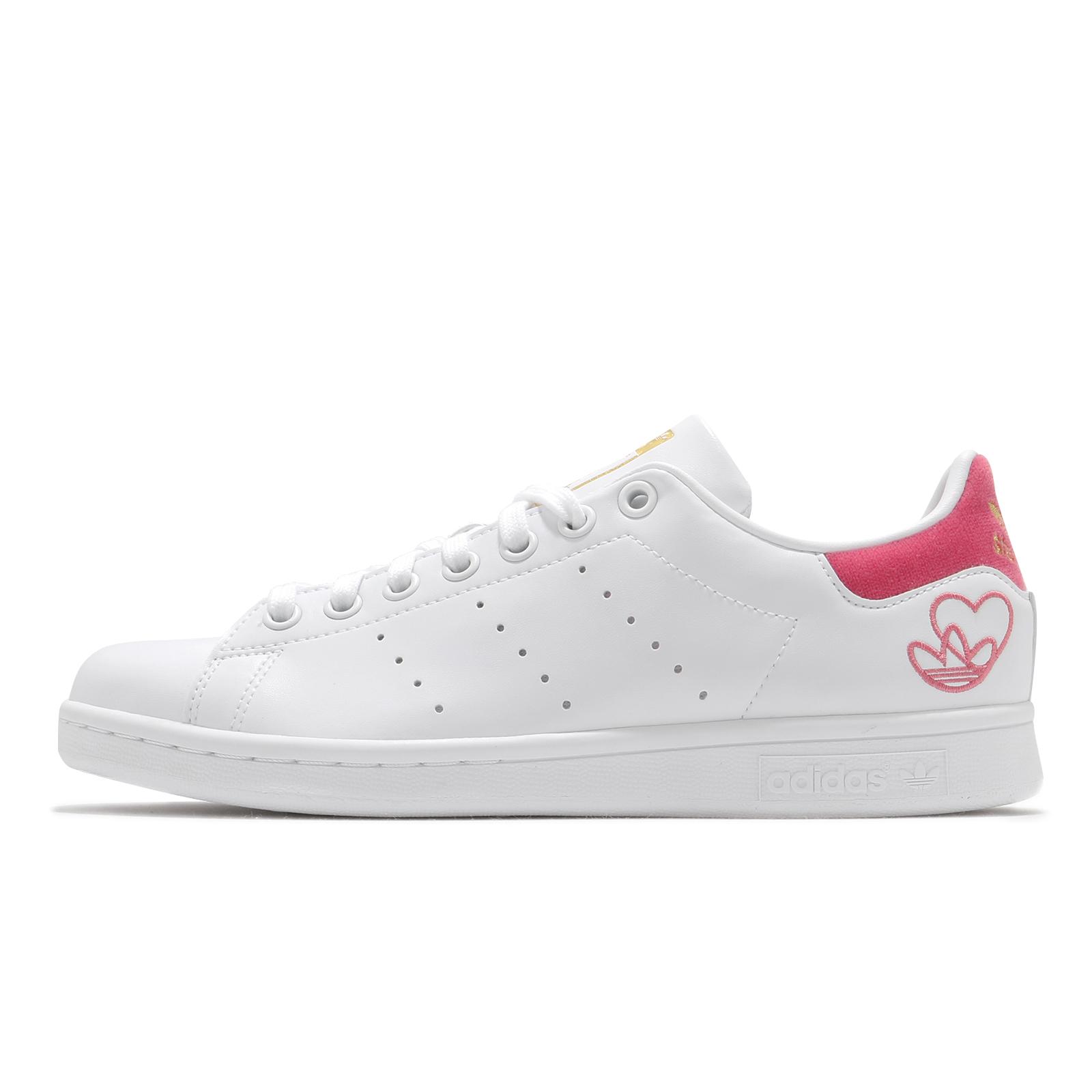adidas 休閒鞋 Stan Smith W 白 桃紅 金標 三葉草 愛心 女鞋 小白鞋 【ACS】 G55666