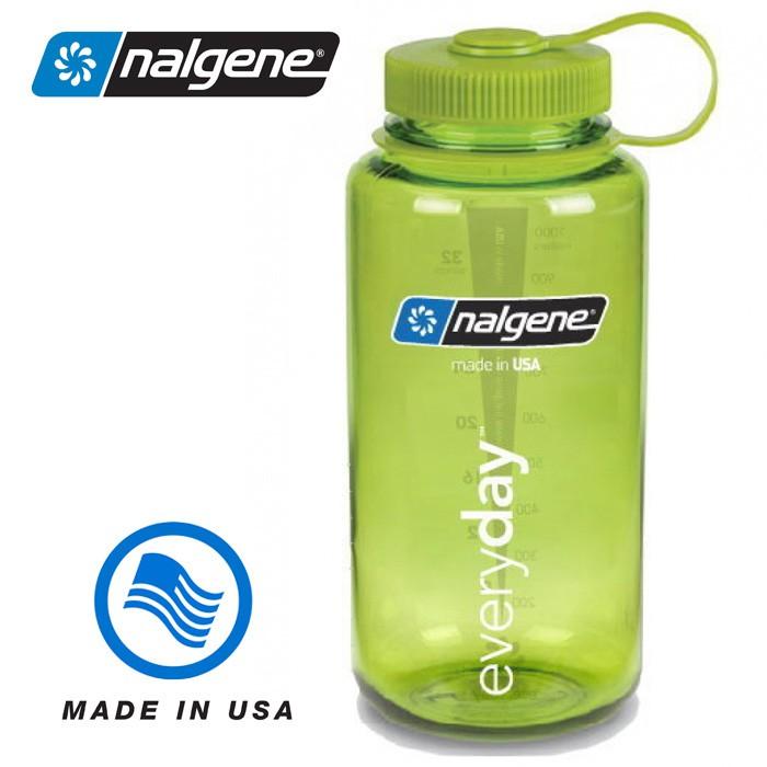 【Nalgene 美國】1000ml 寬口水壺 運動水壺 水瓶 隨身水壺 春綠色 (2178-2022)