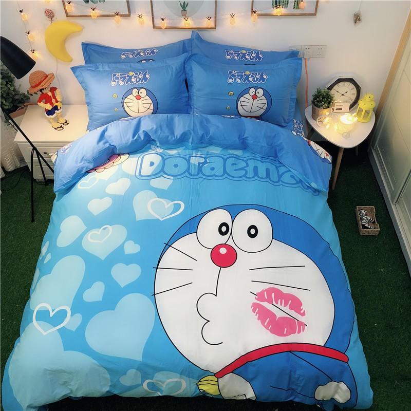 可愛卡通 哆啦A夢 小叮噹 日本動漫 純棉床包 全棉 床組被套床包 單人雙人床單床罩床包四件組