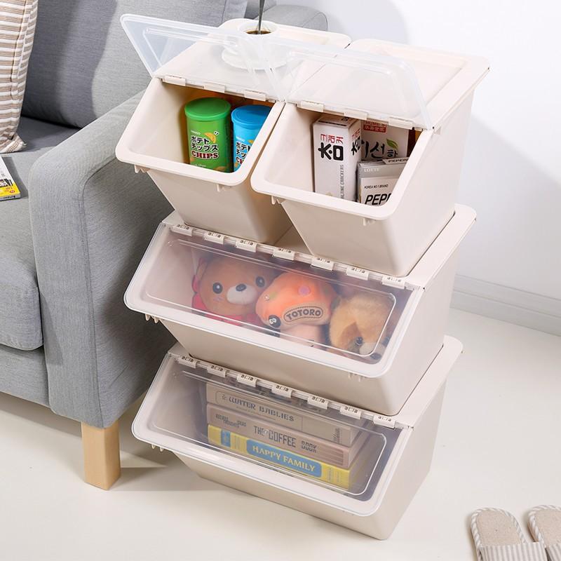 可到付*斜口整理箱  DIY自由疊加收納箱塑料翻蓋寶寶裝玩具整理箱前開式斜口兒童儲物箱側開收納筐