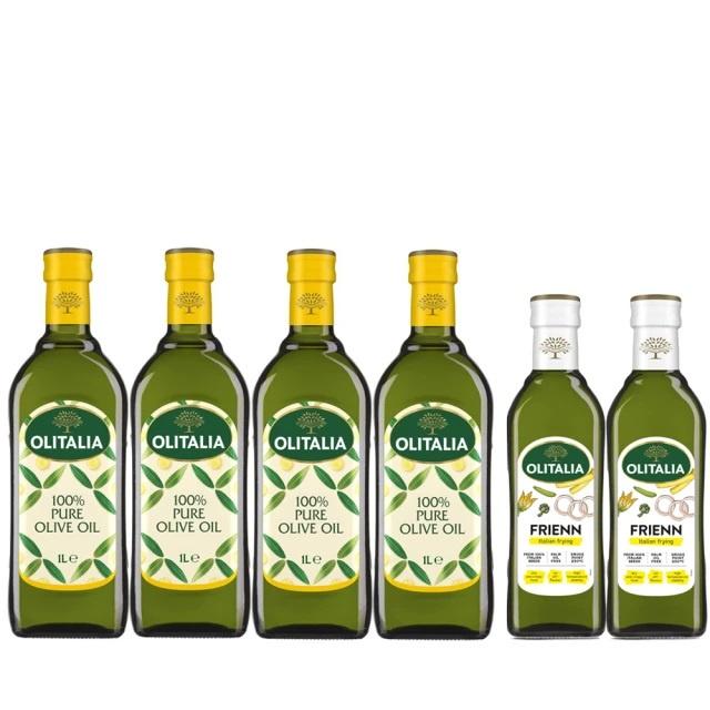 6罐組 Olitalia 奧利塔 純橄欖油1000mlx4瓶(+高溫專用葵花油500mlx2瓶-禮盒組)