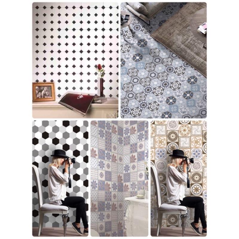 現貨 ✯ 限時特價‼️現代古典風格花磚 六角磚牆貼 壁貼 踢腳板 自黏花磚貼 花磚壁貼